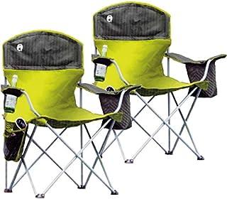 【2個セット】Coleman QUAD CHAIR コールマン チェア 丈夫な耐荷重147kg クーラーバッグポケット・サイドポケット・ドリンクホルダー・持ち運びに便利な専用収納袋付 折りたたみ椅子 アウトドアチェア