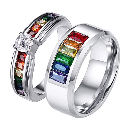 Aeici LGBT Pride Couple Eternity Rings for Gay Lesbian Rainbow Cubic Zirconia Wedding Bands Size 8&8
