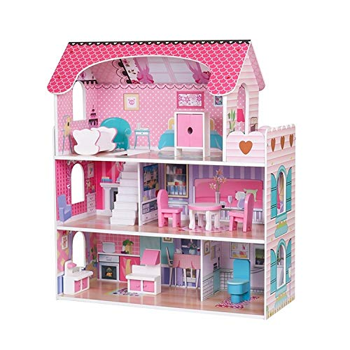 Wooden Kids Doll House All in 1 With Furniture & Staircase Perfect Birthday (Design 1)