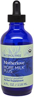 Motherlove More Milk Plus Alcohol Free Tincture (4oz) Herbal Lactation Supplement to Enhance Breast Milk Supply for Breast...