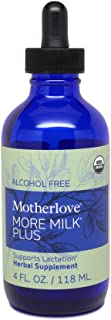 Motherlove - More Milk Plus Alcohol Free, Fast-Acting Herbal Breastfeeding Supplement for Nursing & Pumping Moms' Milk Supply, Potent Lactation Support, Liquid Tincture with Organic Herbs, 4 oz.