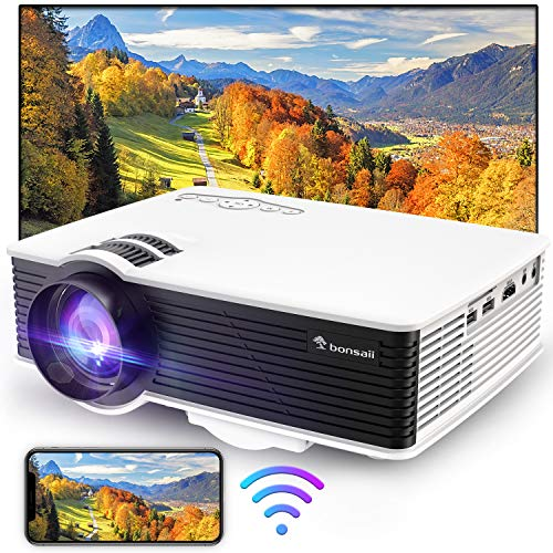 Movie Projector,Portable Outdoor Projector for Home Cimena,Mini WiFi Projector with Speakers Supported 1080p Compatible with TV Stick,HDMI,USB, Laptop,TF/SD