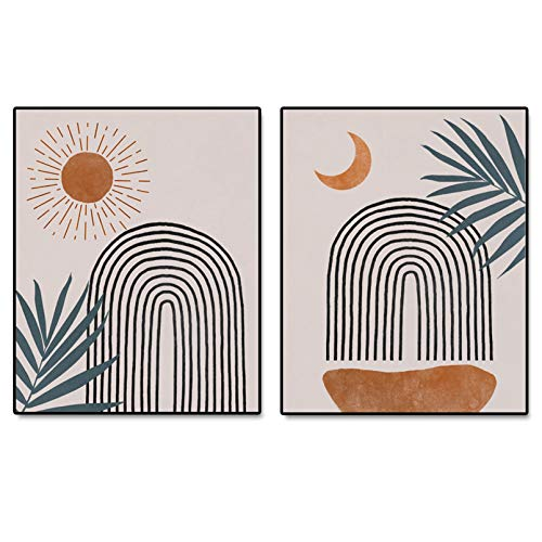 Abstract Rainbow Wall Decor, Sun and Moon, Boho Decor, Minimalist Print, Boho Wall Art, Bedroom Decor, Terracotta Art, Set of 2 Prints - 8x10 inch - No Frame