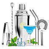 7 Stk Cocktail Set, 750 ml Cocktail Shaker Set Premium Edelstahl Professional Cocktail Mixing Set, Cocktail Shaker für zu Hause Oder in der Bar