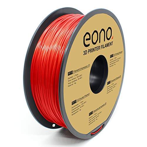 Amazon Brand-Eono Filamento PETG Sin Enredos para Impresora 3D, 1.75mm(± 0.03 mm),Rojo Filamento de impresión 3D 1kg,