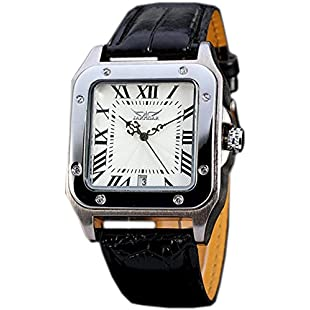 GuTe Square Shaped Men Automatic Mechanical Wristwatch with White Dial Analogue Display and Faux Leather Strap:Tytoftetsi