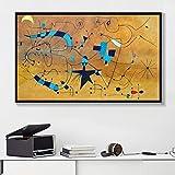 Figuras geométricas Negras del Arte Abstracto Moderno pintadas en Lienzo póster Sala de Estar decoración del hogar Pintura sin Marco 50x75 cm