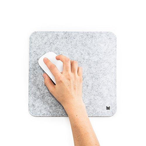 FORMGUT Mousepad Filz grau, Schreibtischunterlage, Filzunterlage Schreibtisch groß, Filzmatte, Auflage, Mauspad, Hellgrau 25 cm x 25 cm