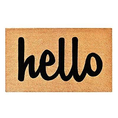 """Calloway Mills 100341729NBS Hello Doormat, 17"""" X 29"""", Natural, Black"""