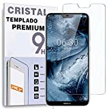 REY - Protector de Pantalla para Nokia 6.1 Plus 2018 - Nokia X6, Cristal Vidrio Templado Premium