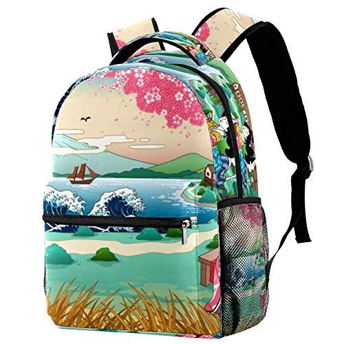 LORVIES Rucksack mit japanischem Geisha unter Kirschblütenbaum, lässiger Rucksack für Schule, Studenten, Reisetaschen