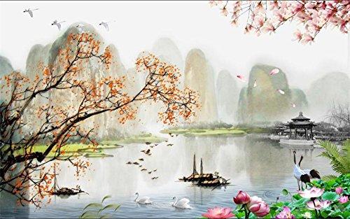Yosot 3D foto behang aangepaste muurschildering beddengoed kamer Lotus Magnolia Lake 3D schilderij bank tv achtergrond niet-geweven behang voor muren 3D 450cmx300cm