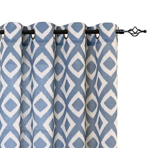 jinchan Linen Curtains for Living Room Geometric Ogee Patterns Design Grommet Top Light Filtering Window Treatment Set 2 Panels 95 inches Long Blue