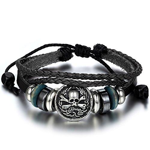 JewelryWe Schmuck Herren Damen Armband, Retro Totenkopf Schädel Beads Kugeln Tribal Geflochten Armreif, 20-31cm Verstellbaren Größen, Leder Legierung Baumwollseil, Schwarz Silber