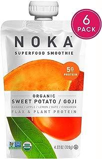 NOKA Superfood Pouches (Sweet Potato Goji) 6 Pack | 100% Organic Fruit And Veggie Smoothie Squeeze Packs | Non GMO, Gluten Free, Vegan, 5g Plant Protein | 4.2oz Each