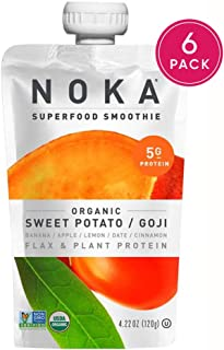 NOKA Superfood Pouches (Sweet Potato Goji) 6 Pack | 100% Organic Fruit And Veggie Smoothie Squeeze Packs | Non GMO, Gluten Free, Vegan, 5g Plant Protein | 4.2oz Each