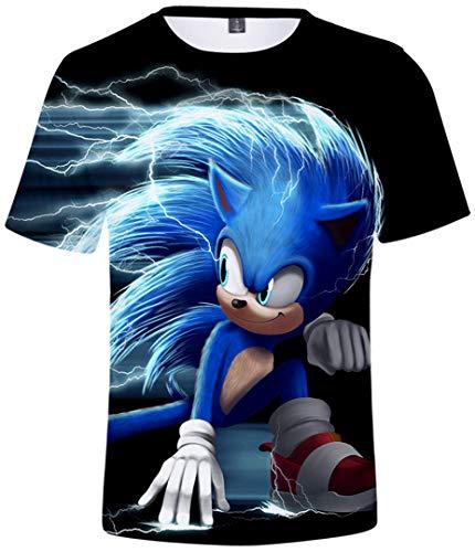 Silver Basic Camiseta Deportiva para Niños 3D Inspirada en la Popular Película y Videojuego Sonic The Hedgehog Summer T-Shirt Sonic Cosplay tee Top XXS, 752Sonic Cosplay-3