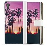 DeinDesign Étui Compatible avec Sony Xperia XA1 Étui Folio Étui magnétique Palmier Coucher du...