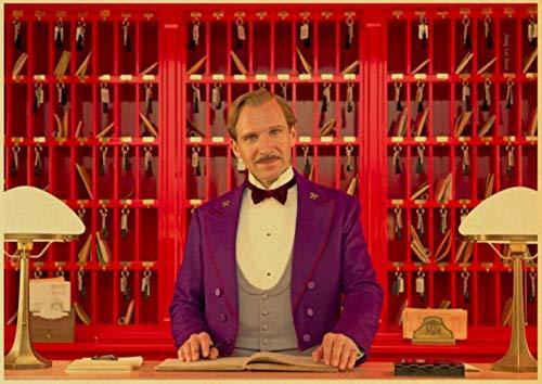 ZYAAO Clásico de película de WES Anderson película El Gran Hotel Budapest póster Retro Vintage decoración de la Pared para el hogar Bar Café niño habitación,H113,30x21 cm