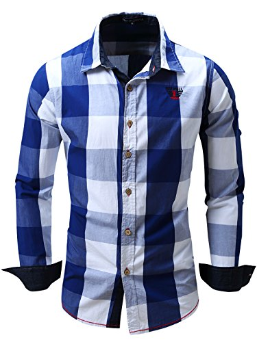 Neleus Men's Long Sleeve Button Down Plaid Shirts,112,Blue,XL,Tag 2XL