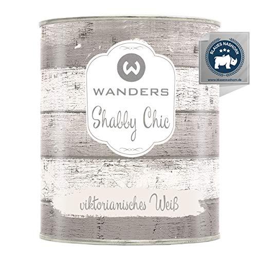 Wanders24®️ Kreidefarbe (750 ml, viktorianisches Weiß) Holzfarbe für Shabby Chic Look - Möbelfarbe einfach zu verarbeiten - Möbellack auf Wasserbasis - Made in Germany