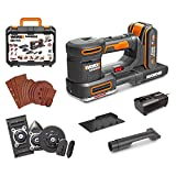 WORX Cordless Multifunction Sander, WX820 20V Professional Eccentric Sander, Variable Speed ??4000-10000 / min, 1 * 2.0Ah Battery   21 Accessories