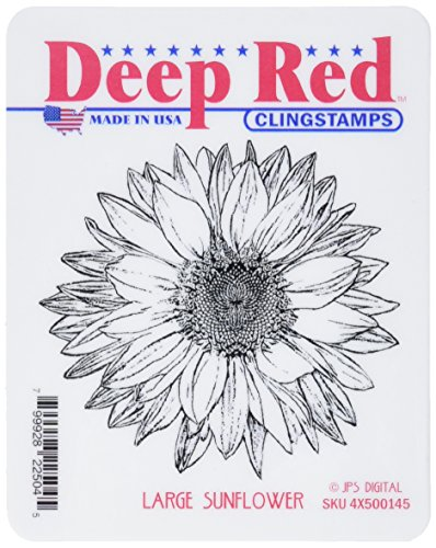 Deep Red Stamps 4x500145 Deep Red Cling Stamp-Large Sunflower