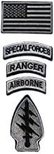 Military Patches, Tactical American Flag Patches Special Forces Ranger Airborne Badges 5 Pieces Hook and Loop Embroidered Morale Patch (Gray)