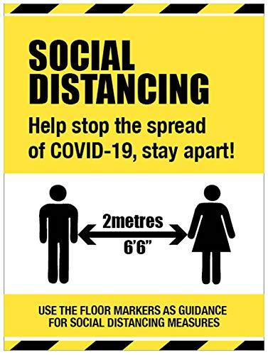 Segnale di distanza sociale - Help stop the spread of COVID-19, stay apart floor graphic 600 x 400 mm
