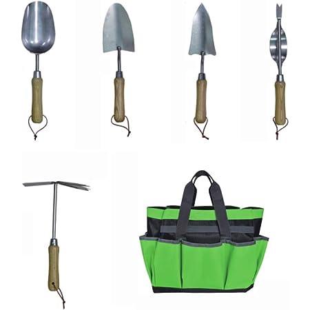 JARDTEC Ensemble Outils Jardinage avec 5 Outils de Jardin Multifonction Sac de Rangement d'Outil de Jardin et Organisateur à la Maison avec des Poches