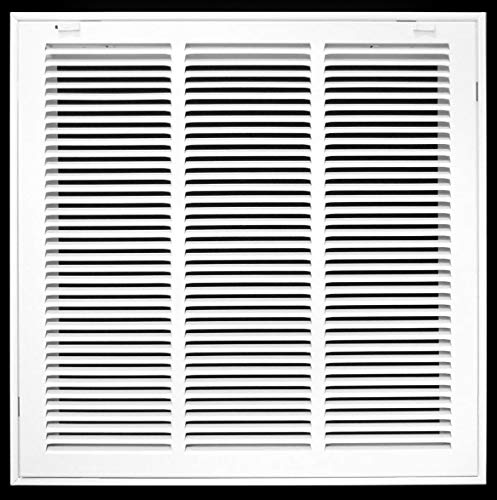 18' X 18' Steel Return Air Filter Grille for 1' Filter - Removable Face/Door - HVAC Duct Cover - Flat Stamped Face - White [Outer Dimensions: 20.5 X 19.75]
