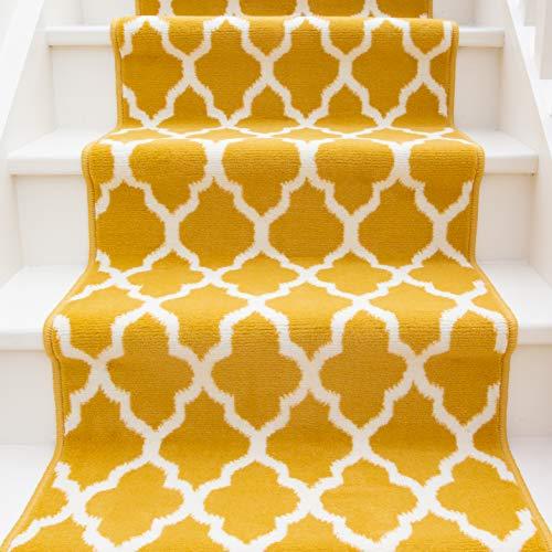 Modern Ochre Yellow Trellis Stair Carpet Cream Geometric Durable Stair Runner Rug Custom Length Width - Sold and Priced Per Foot 2' 3' x 6'