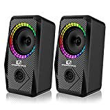 XINMENG Computer Speakers,10W RGB Gaming Speakers 2.0 USB Powered Stereo Bass Volume Control with 5 Controllable LED Lighting Modes, 3.5mm Aux Input Multimedia Speaker for PC Desktop Laptop Monitor