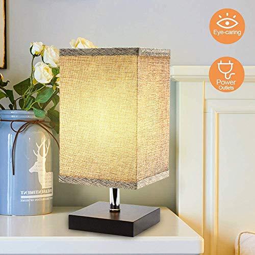 DLLT LED Tischlampe Skandinavisch Wohnzimmer, E27 Nachttischlampe Leselampe Kinderzimmer, mit Glühbirne & Lampenschirm, 3000K Warmweiß Schreibtischlampe für Eckig Nachtlicht Schlafzimmer Büro