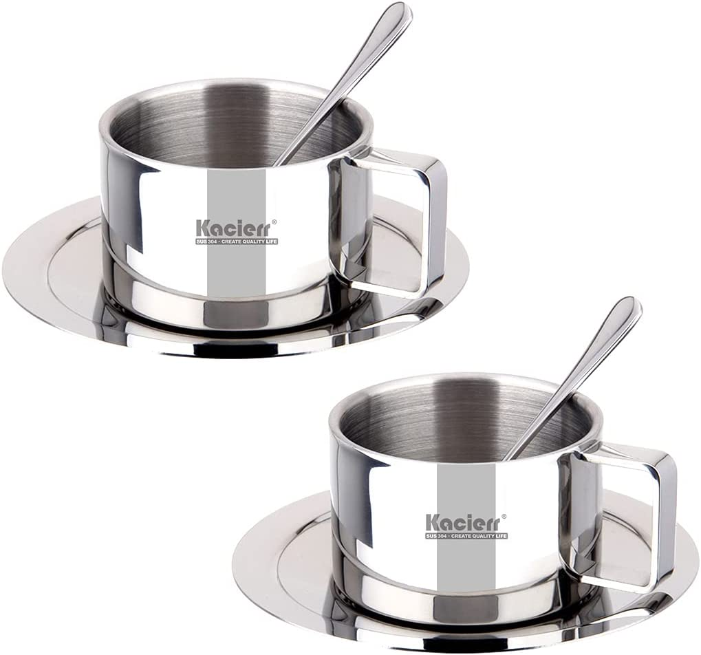 Insulated Stainless-Steel Espresso Cup Set Houston Mall Max 82% OFF wall Double Kacierr -