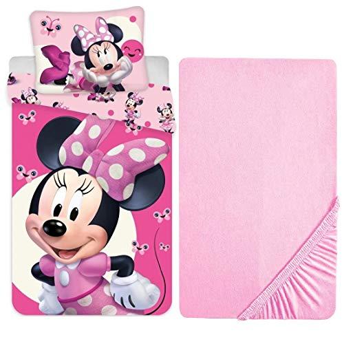 L.T.Preferita Disney Minnie Mouse - Juego de ropa de cama para bebé, cuna, funda nórdica + funda de almohada + sábana bajera con esquinas