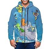 Pikachu Bulbasaur Charmander - Sudadera con capucha para hombre con bolsillo con cremallera Negro Negro ( L