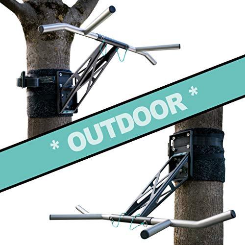 PULLUP & DIP Premium Klimmzugstange und Dip Stange, Mobil für Befestigung an Baum & Pfosten, für Outdoor im Garten und Park, Hochwertige Qualität, Über 35 Übungen, Outdoor Paket
