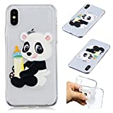 CaseLover iPhone X/10 Hülle, Transparent Tasche Schutzhülle Mode Handy Case iPhone X/10 5,8' Silikon Case, Weiche TPU Handyhülle Shockproof Handy Cover, Panda und Babyflasche