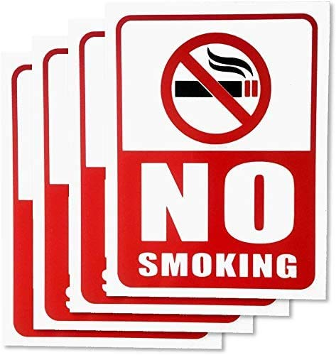 No Smoking Sign - 4 Pieces - Rust Free - Clear and Visible Text - Light, Tough, Long-Lasting - Stop Cigarette/Cigar Use - Perfect for Office