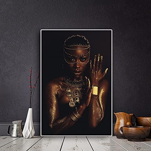 Schwarze Malerei der afrikanischen Frau der abstrakten Kunstschwarzgold mit skandinavischem Plakat der Halskette und Druckwandkunstbild 40x60 CM (Kein Rahmen)