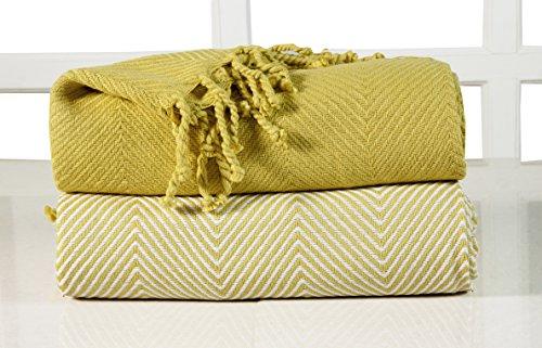 EHC–Manta para sofá, algodón, Rayas Chevron, 2Unidades, 125x 150cm, Color Amarillo
