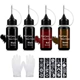 Janolia Temporary Tattoo Set with Tattoo Paste, for DIY Tattoo Art (Black, Red, Brown)
