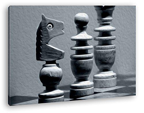 deyoli Schachfiguren auf Einem Schachbrett Effekt: Zeichnung im Format: 80x60 als Leinwandbild, Motiv fertig gerahmt auf Echtholzrahmen, Hochwertiger Digitaldruck mit Rahmen, Kein Poster oder Plakat