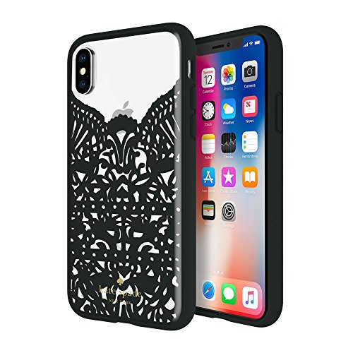 Incipio Apple iPhone X Kate Spade New York Lace Cage Case - Lace Hummingbird Black and Clear