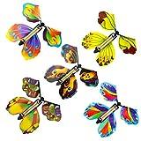 QINREN 20 unidades Flying Butterfly Toy Set Wind Up Butterfly Toy goma Powered Butterfly Bright Colors mágica mariposa tarjeta Wind Up Butterfly Toy para una gran sorpresa cumpleaños boda