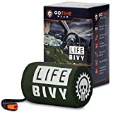 Life Bivy Emergency Sleeping Bag Thermal Bivvy - Use as Emergency Bivy Sack, Survival Sleeping Bag, Mylar Emergency Blanket - Includes Stuff Sack with Survival Whistle + Paracord String (Green)