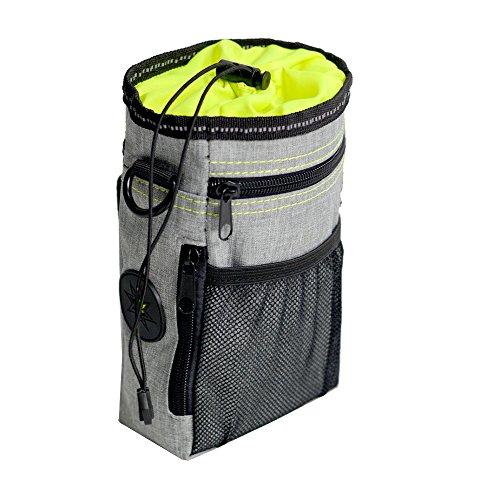 OCSOSO® Sac à friandises pour chien pour le dressage, transport de friandises et jouets, distributeur de sacs à déjections canines intégré, taille réglable et ceinture d'épaule (gris clair)