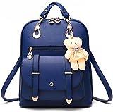 Desconocido Bolso de hombro de la escuela de cuero sintético de la manera de la muchacha de las mujeres Mochila del viaje de la mochila (Azul)