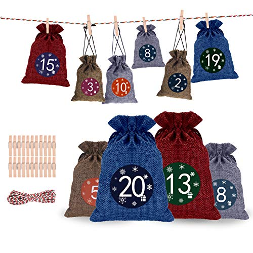 Qxmcov Calendario de Adviento Calendario Familiar de Adviento, Set de 24 Bolsas de Yute, Adviento Bolsa de Regalo Decoracion Navidad Hogar, Cuenta Atrás para Navidad Decoración de Casa de 24 días